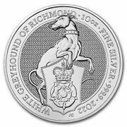 2022 Gb 10 Oz Silver Queenand039s Beasts The White Greyhound - Sku237976