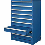 9 Drawer Modular Cabinet W/lock W/o Dividers 36wx24dx57h Blue
