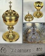 Huge Antique 1.3kg Solid Silver And Gold Neo Gothic Ciborium Germany Osthues