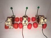 Lot Of 3 1968 And 1965 Vintage Fisher Price Little Snoopy Dog Pull Along Toy