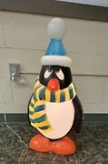 Vintage Blow Mold 28 Penguin Chilly Willy Lighted Scarf Hat Christmas Decor