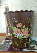 Vintage Wolff Products Co.plastic Brown Waste Basket W/ Tan Rosesscalloped Rim