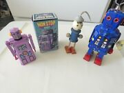 Vintage Wind-up Space And Non Stop Robot Toy Lot