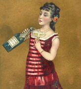 1880s Victorian Trade Cards Lovely Girls Champagne Wine Bottle Lot Of 4 P227