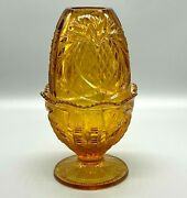 Vintage Fenton Art Glass Amber Gold Pineapple Fairy Lamp Candle Collectible