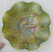 Northwood  Peacocks On The Fence  Green Carnival Glass Ruffled Bowl