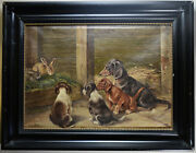 Antique Oil Picture Dogs And Rabbits Daschund Dackel Signed 1920 Germany 6462