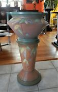 Arts And Craft Art Deco Futura Roseville Pottery Jardiniere And Pedestal