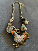 Betsey Johnson Signed Farmhouse Necklace Rooster Sheep Vtg.fashion Statement