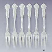 Great Set 6 Wallace Sterling Silver Carnation Forks S Mono