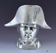 Antique C1900 German .800-.850 Silver Full Figural Bust Of Napoleon Snuffbox Box