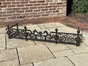 Antique Wrought Iron English Fireplace Fender With Royal Crown Motif