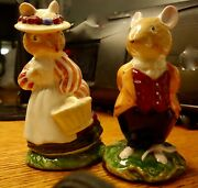 Pair Of Vintage Royal Doulton Lord And Lady Woodmouse Figurines Excellent Adorable