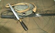 Awesome Civil War Confederate Grouping Sword Boot Knife Blanket And Canteen
