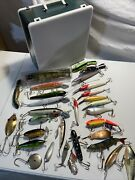 Vtg Lot Of 30 Muskie Northern Fishing Lures Cisco Kid Rapala Custom And Case