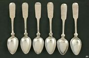 6 American Coin Silver Fiddle Teaspoons Walter Pitkin Mississippi