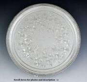 Antique 1850s American Coin Silver Floral Engraved Footed Tray/platter 12