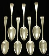 7 Antique C1800 English American Sterling Silver Place Table Soup Serving Spoons