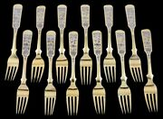12 Antique 1840 Russian Gilded Silver Niello Enamel Forks 7 Finest Quality