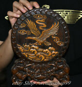 10 Rare Old Chinese Wood Hand-carved Feng Shui Eagle Hawk Folding Screen