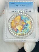 1885-p Morgan Dollar Pcgs Ms63 End Of Rollrainbow Monster Toned 🌈 Crazy Color