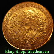 7 Marked Old China Copper Gold Dynasty Palace Kylin Unicorn Qilin Bowl Plate