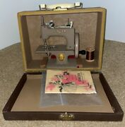 Singer Sewhandy Sewing Machine Model 20 Hand Crank In Trapazoid Case