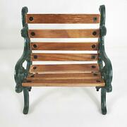 Byer's Choice Carolers Small Park Bench Green Wrought Iron And Wood Sturdy Build