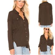 Free People Woman's Penelope Buttondown Hunter Green Brown New With Tag Size Sm