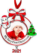 Baby's First Christmas Photo Ornament 2021 My Very First Christmas Photo Frame X