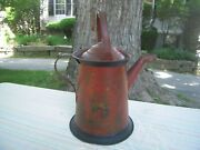Antique Red Toll Galvanic Ware Watering Can