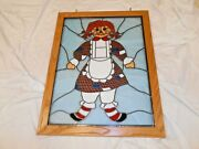 Rare Large Raggedy Ann Stained Glass Wall Hanging 27 X 21 Heavy Gorgeous