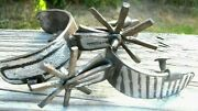 Antique Country Western Cowboy Old West Silver Spurs - Intricately Carved