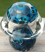 Lovely Vintage Hand Blown Glass Mushroom Paperweight Mottled Blue/clear 2 1/4