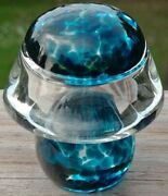 Pretty Vintage Hand Blown Glass Mushroom Paperweight Spatter Blue And Clear 2 1/4