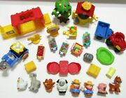 Fisher Price Little People Farm Lot Tractor Wagon Well Hutch Tree Animals Table