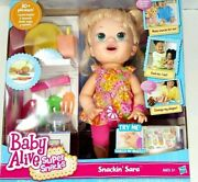 Baby Alive Snackinand039 Sara Interactive Blonde New And Sealed