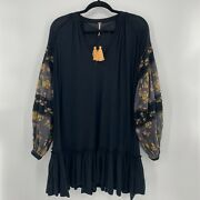 Free People Woman's Mix It Up Tunic Patchwork Floral Black Long Sleeve Tassel S