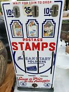 Vintage Usa Postage Stamps Vending Machine With Working Lock And Key