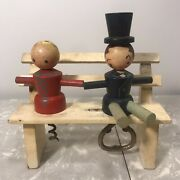 Vintage 1950's Wine Corkscrew And Bottle Opener - Wooden Couple On Bench