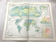 1899 Antique Map Of World Meteorology Meteorological Rainfall Climate Weather