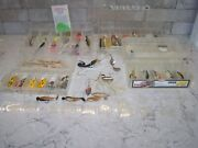 Lot Of 42 Fishing Lures Various Styles And Brands W/ Storage Cases