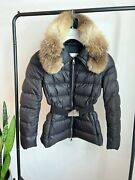 Moncler Fabrette Giubbotto Womenand039s Down Jacket Black With Fur Hood And Belt Size