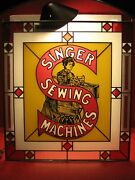Vintage Singer Stained Glass Sewing Machine Advertising Logo Display Sign, Nice