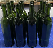 Green Glass Bordeaux Wine Bottles 12 Ct. Used/empty/clean Wedding/crafting