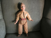 Vintage Wwii Ww2 Era Us Army Soldier Composition 15 Tall Male Doll In Uniform