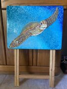 Original Art Hand Painted Sea Turtle Mixed Media Epoxy Coated Tv Tray By Artist