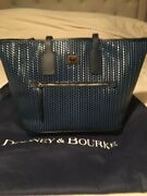 Dooney And Bourke Blue Camden Leather Woven Embossed Large Tote