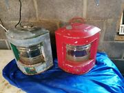 Lovely Old Pair Of Vintage Genuine Boat Port And Starboard Lights. Lamp Projects