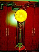 Tall Pillar Lamp W/antique Fantastic Huge Yellow Cased Glass Lamp Shade W/ Gold